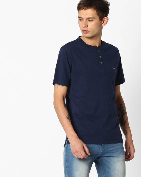 Quick Dry Henley T-shirt By Jockey ( Blue )