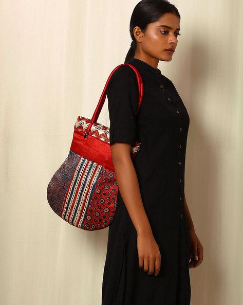 Handblock Print Mashru Silk Tote Bag By Indie Picks ( Multi ) - 460059237001