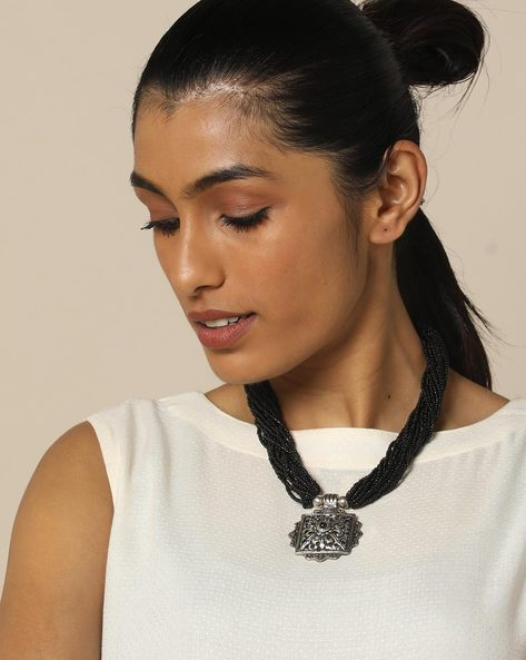 Multi Strand Glass Bead Necklace With Pendant By IMLI STREET ( Black ) - 460157993001
