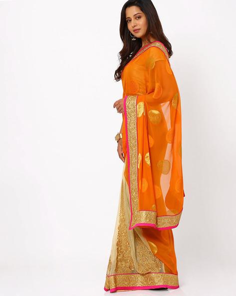 Embroidered Chiffon Half & Half Saree By Viva N Diva ( Orange )