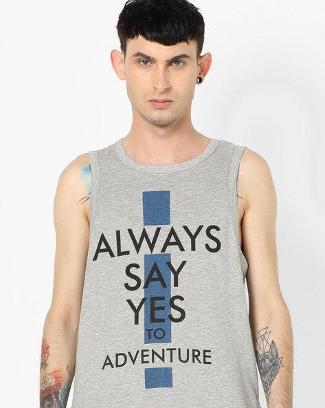 Typographic Print Sleeveless T-shirt By AJIO ( Greymelange )