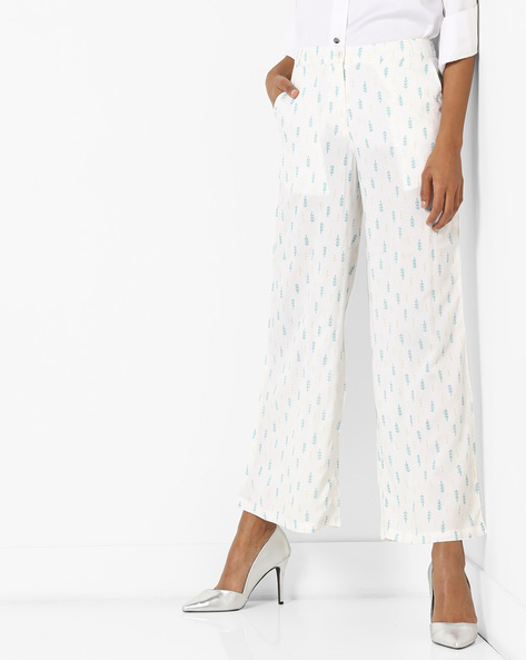 All-Over Print Palazzo Pants By AJIO ( Blue )