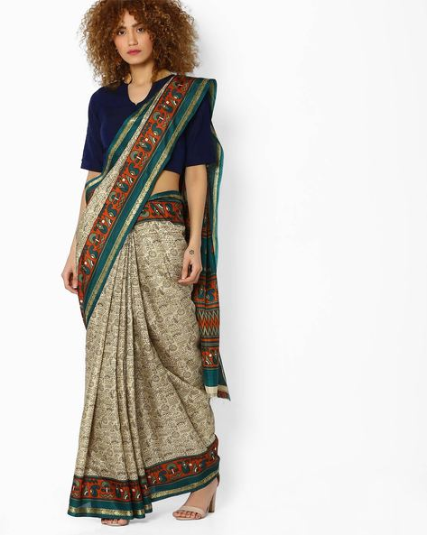 Crepe Printed Saree By Majestic Silk ( Green )