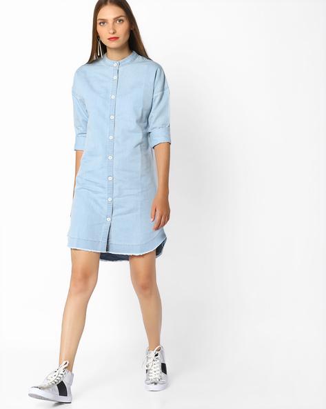Denim Shirt Dress With Band Collar By AJIO ( Lightblue )
