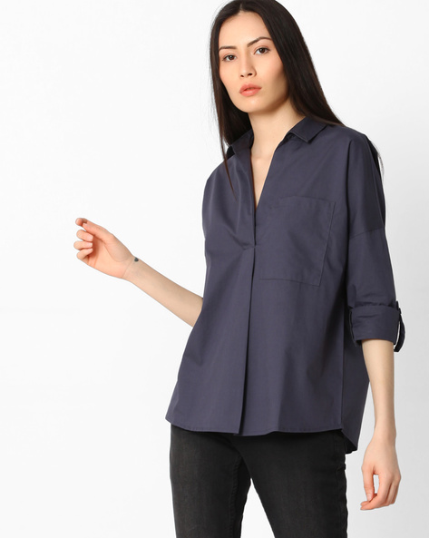 Stylised Shirt With Roll-Up Sleeves By Vero Moda ( Blue )
