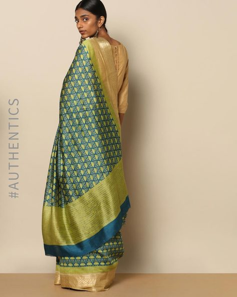 Pure Silk Printed Saree With Zari Border By Rudrakaashe-MSU ( Green )