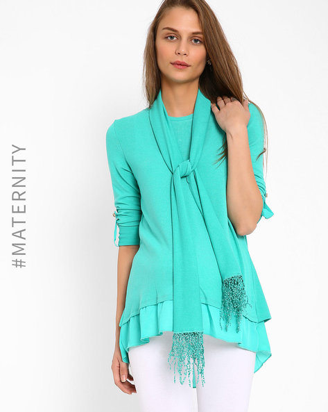 Layered Top With Envelope Back By AJIO ( Aqua )