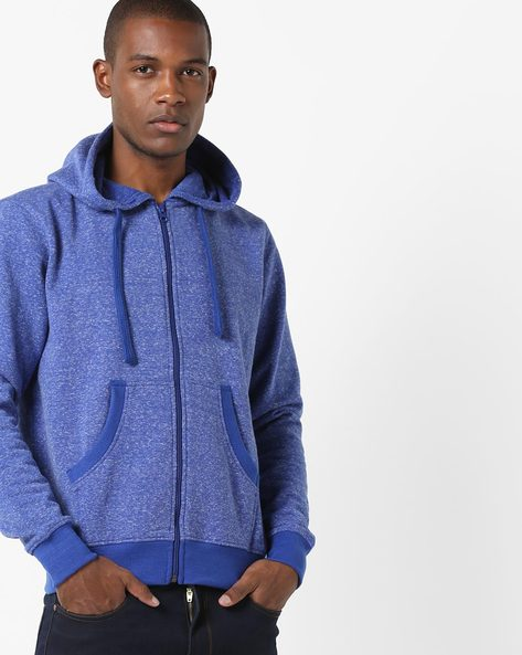 Hooded Sweatshirt With Front Zipper By AJIO ( Navy )