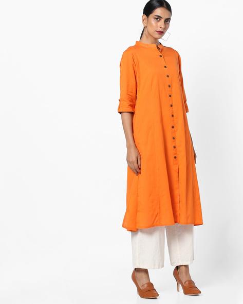 Straight Kurta With Mandarin Collar By Shree ( Orange )