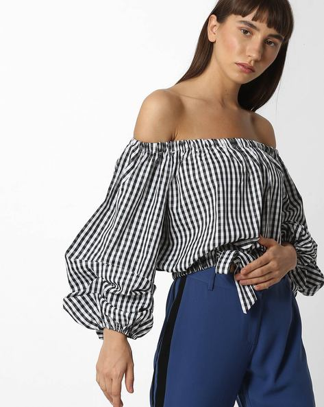 Off-Shoulder Checked Top With Tie-Up By Ginger By Lifestyle ( Black )