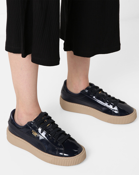 Panelled Lace-Up Casual Shoes By Puma ( Black )