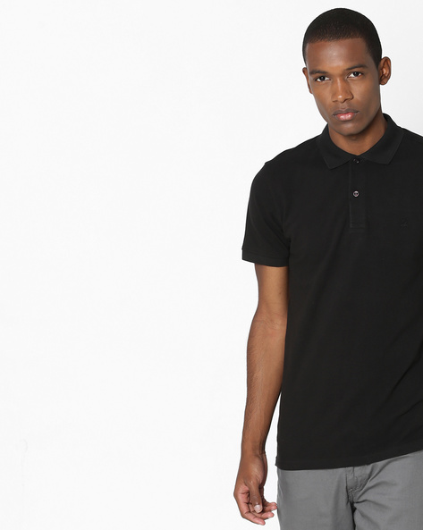 Pique Knit Cotton Polo T-shirt By UNITED COLORS OF BENETTON ( Black )