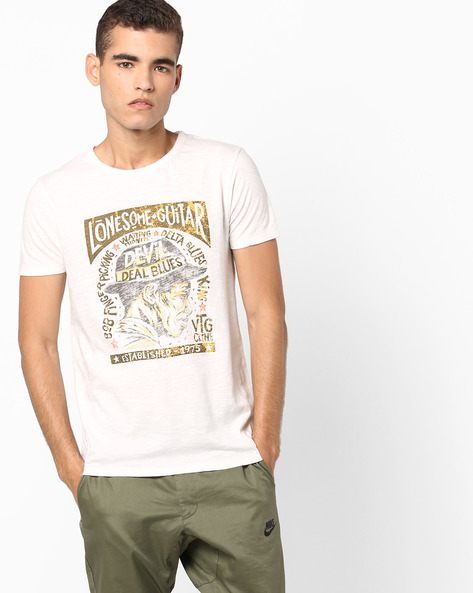 Printed Slim Fit T-shirt By Jack & Jones ( White )