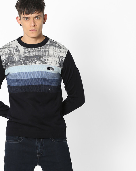 Printed Crew-Neck Pullover By DUKE ( Navy )