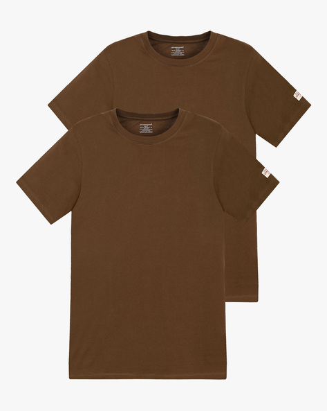 Pack Of 2 Crew-Neck T-shirts By CHROMOZOME ( Olive )