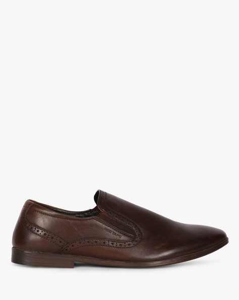 Genuine Leather Loafers With Brogued Upper By RED TAPE ( Brown )