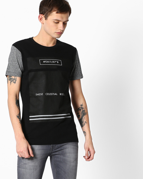 Graphic Print T-shirt With Contrast Sleeves By FLYING MACHINE ( Clearblack )