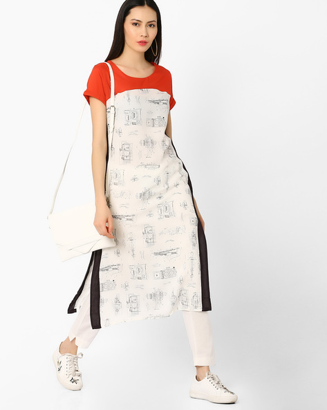 Printed Straight Kurta With Contrast Yoke By W ( White )