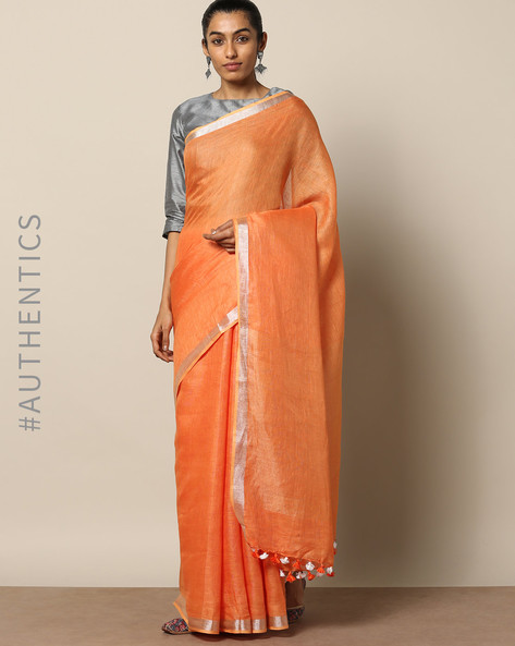 Handloom Pure Linen Saree With Contrast Border By Lal10 ( Orange )