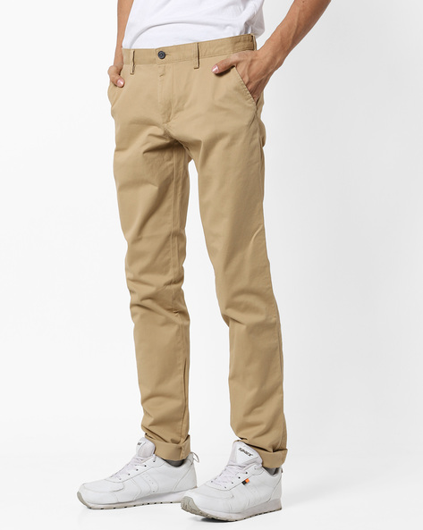Slim Fit Flat-Front Trousers By INDIAN TERRAIN ( Khaki )