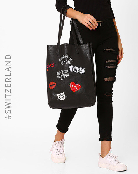 Printed Tote Bag With Appliqué By TALLY WEiJL ( Black )