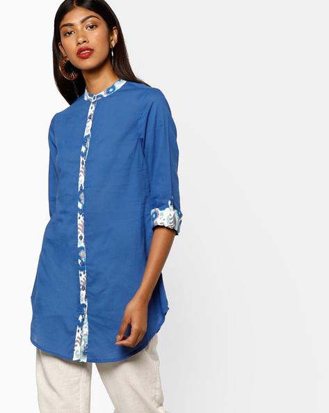 Tunic With Roll-Tab Sleeves By AJIO ( Indigo )