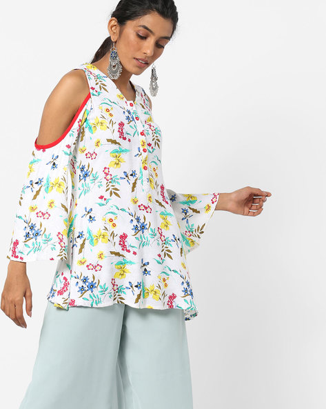 Floral Print Cold-Shoulder Tunic By AYAANY ( Offwhite )