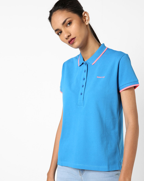 Polo T-shirt With Contrast Tipping By UNITED COLORS OF BENETTON ( Lightblue )