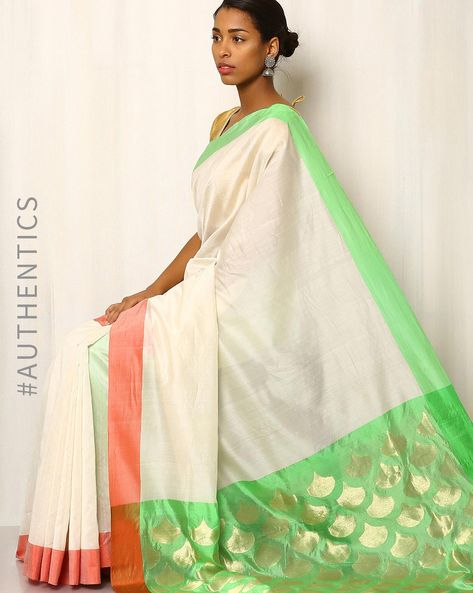 Handwoven Pure Silk Cotton Chanderi Saree By Indie Picks ( Offwhite )