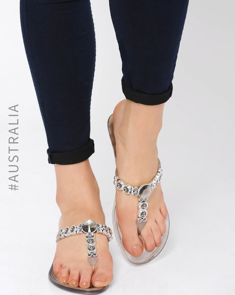 Embellished Jelly Crystal Heel Sandals By Holster ( Clearsmoke )