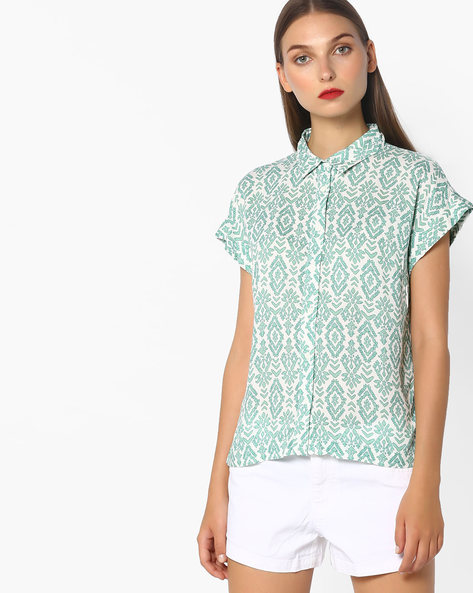 High-Low Printed Shirt By Pepe Jeans ( Green )