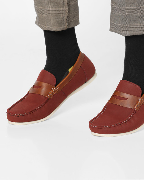 Apron-Toe Penny Loafers By Bond Street By Red Tape ( Maroon )