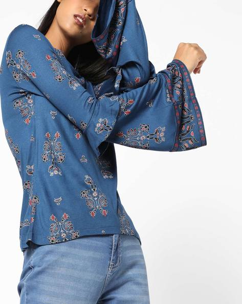 All-Over Print Top With Bell Sleeves By AJIO ( Navyblue )