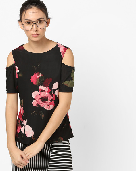 Floral Print Top With Cold-Shoulder Sleeves By And ( Black )