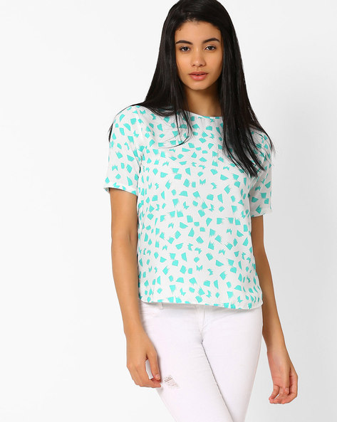Printed Top With High-Low Hem By CHM ( White )