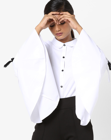 Button-Down Shirt With Layered Sleeves By Oxolloxo ( White )