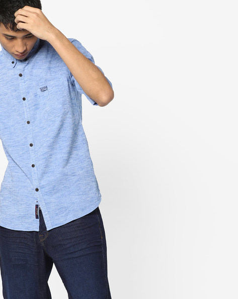 Heathered Slim Fit Shirt By US POLO ( Blue )