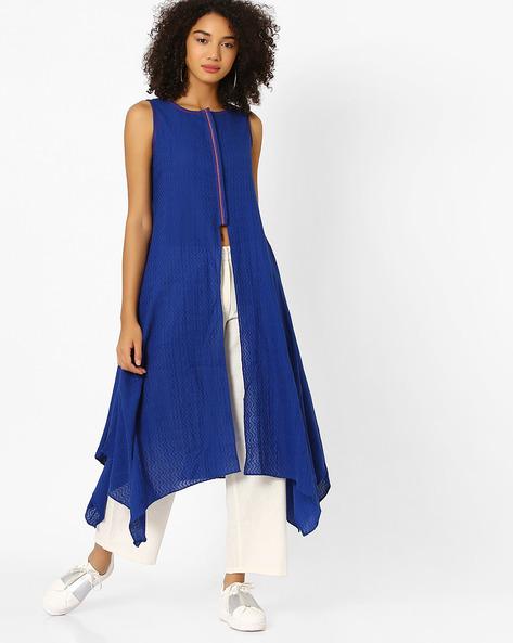 Sleeveless Kurta With Asymmetrical Hemline By Global Desi ( Blue )