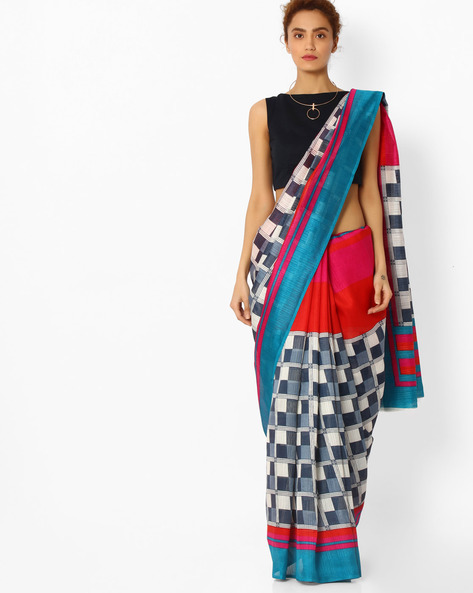 Checked Bhagalpuri Silk Saree By Majestic Silk ( Multi )