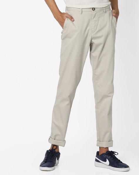 Mid-Rise Flat Front Trousers By US POLO ( Khaki )
