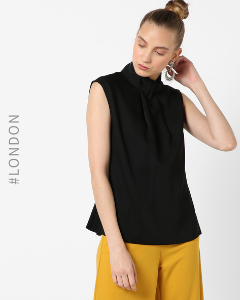 Knot Collar Top With Cut-Out By Closet London ( Black )
