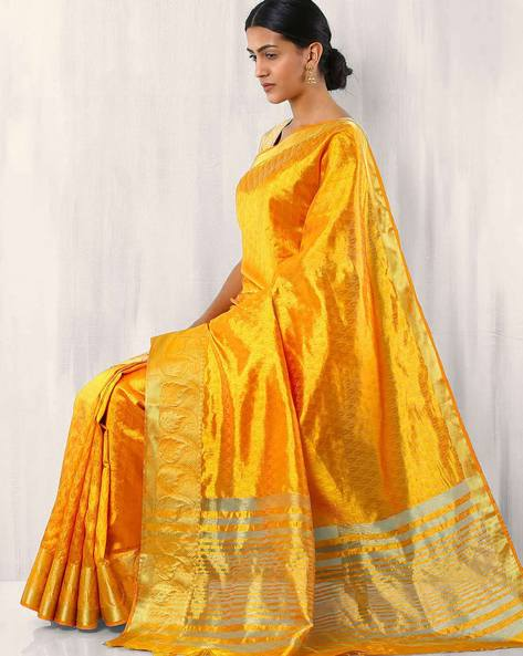 Embossed Design Art Silk Saree By Rudrakaashe-MSU ( Mustard )