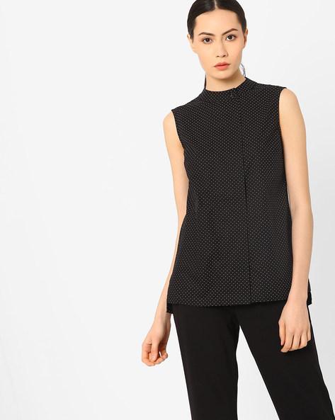 Ditsy Print High-Low Sleeveless Shirt By AJIO ( Black )
