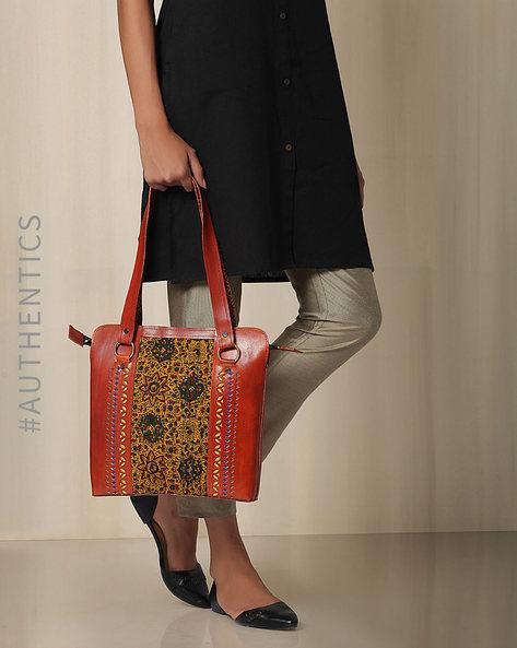Kutch Cutwork Ajrak Leather Handbag By Indie Picks ( Brown ) - 460033208001