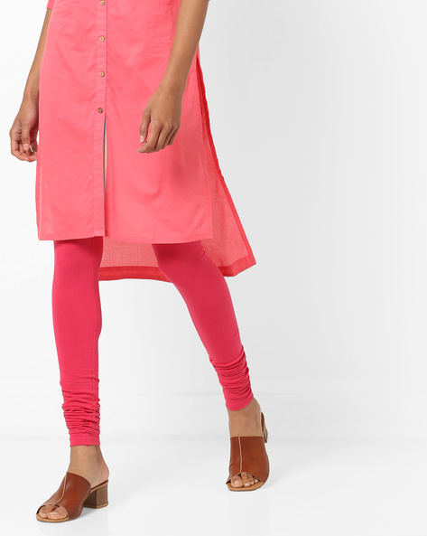 Churidar Leggings With Elasticated Waist By AJIO ( Red )