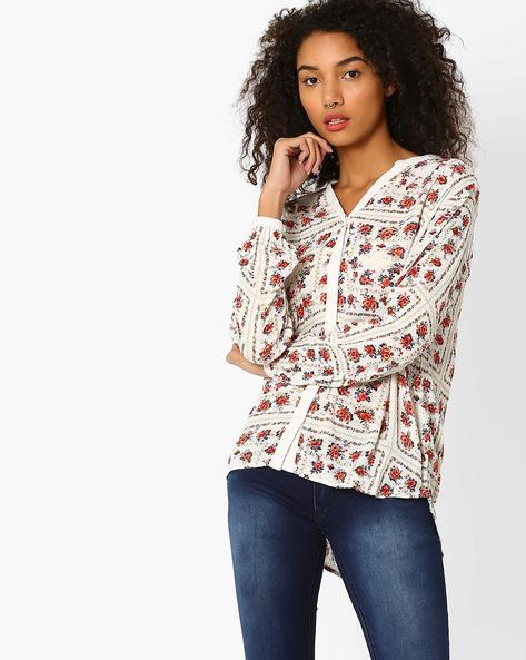 Floral Print High-Low Top By Vero Moda ( White )