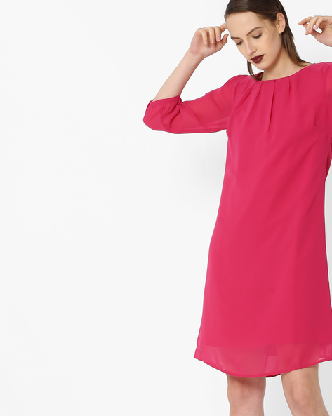 Shift Dress With Curved Hemline By Project Eve WW Evening ( Magenta )