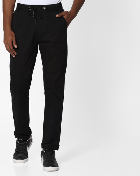 Mid-Rise Flat-Front Chinos By Nature Casuals ( Black )