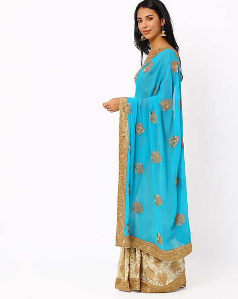 Embroidered Half & Half Chiffon Saree By Akoya ( Blue )