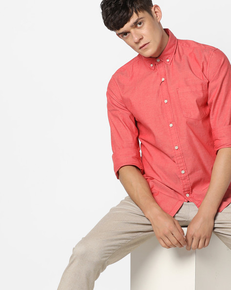 Button-Down Shirt With Patch Pocket By WRANGLER ( Red )
